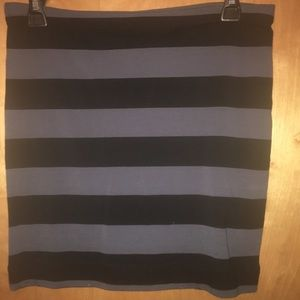 Grey and black striped bodycon skirt